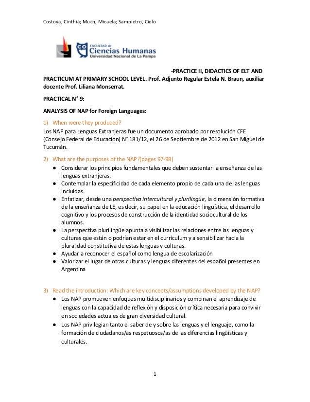 Costoya, Cinthia; Much, Micaela; Sampietro, Cielo -PRACTICE II, DIDACTICS OF ELT AND PRACTICUM AT PRIMARY SCHOOL LEVEL. Pr...