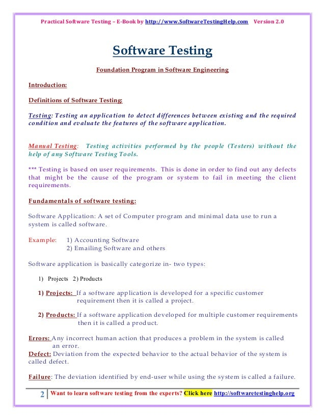 Practical software testing e book by softwaretestinghelp.com