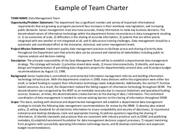 Class Charter Example Example of Team Charter Team RUIN2lHB
