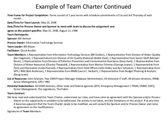 Class Charter Example Example of Team Charter TX8iZSTO
