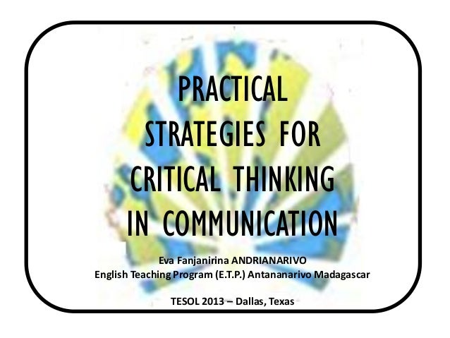 Teaching strategies for critical thinking
