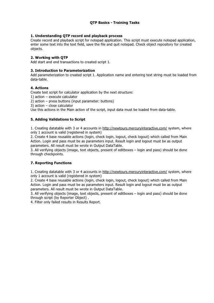 Practical tasks for qtp basics