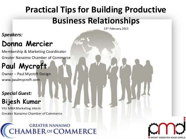 Nanaimo Chamber of Commerce - Practical Tips for Building Productive Business Relationships