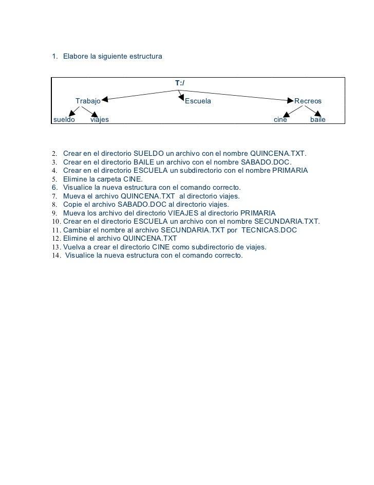 1. Elabore la siguiente estructura                                     T:/         Trabajo                           Escue...