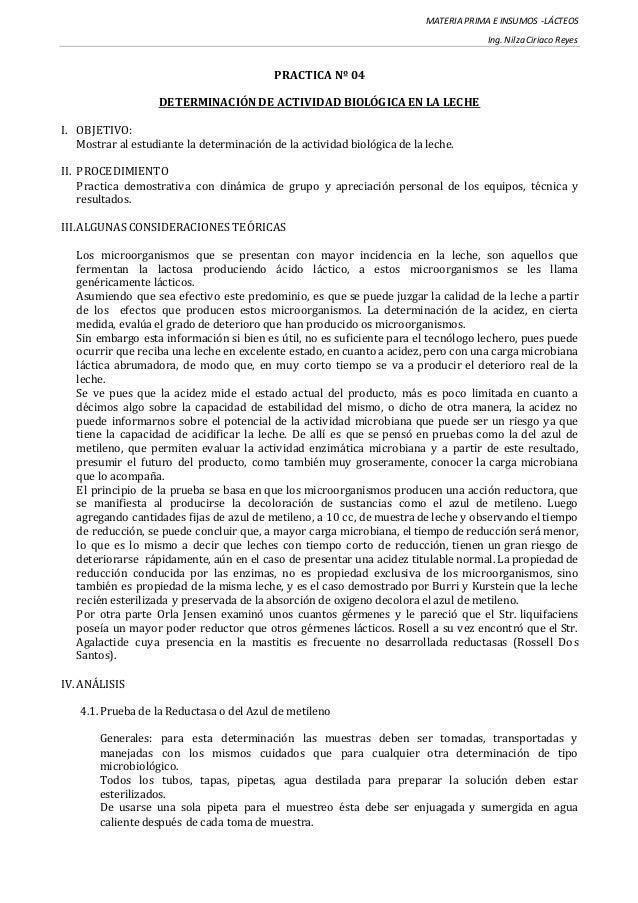 MATERIA PRIMA E INSUMOS -LÁCTEOS Ing. Nilza Ciriaco Reyes PRACTICA Nº 04 DETERMINACIÓN DE ACTIVIDAD BIOLÓGICA EN LA LECHE ...