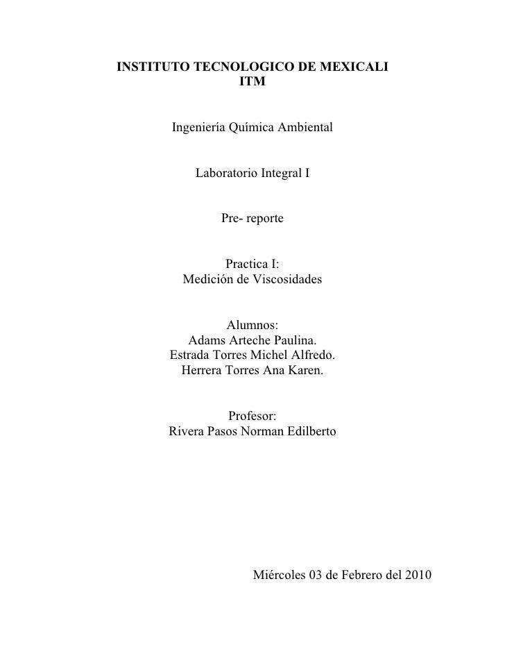INSTITUTO TECNOLOGICO DE MEXICALI                ITM         Ingeniería Química Ambiental             Laboratorio Integral...
