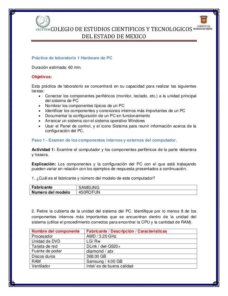 COLEGIO DE ESTUDIOS CIENTIFICOS Y TECNOLOGICOS                    DEL ESTADO DE MEXICOPráctica de laboratorio 1 Hardware d...