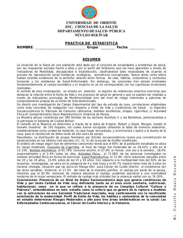 UNIVERSIDAD DE ORIENTE                                 ESC. CIENCIAS DE LA SALUD                              DEPARTAMENTO...