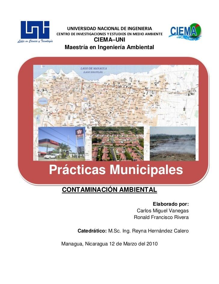 UNIVERSIDAD NACIONAL DE INGENIERIA CENTRO DE INVESTIGACIONES Y ESTUDIOS EN MEDIO AMBIENTE               CIEMA–UNI     Maes...