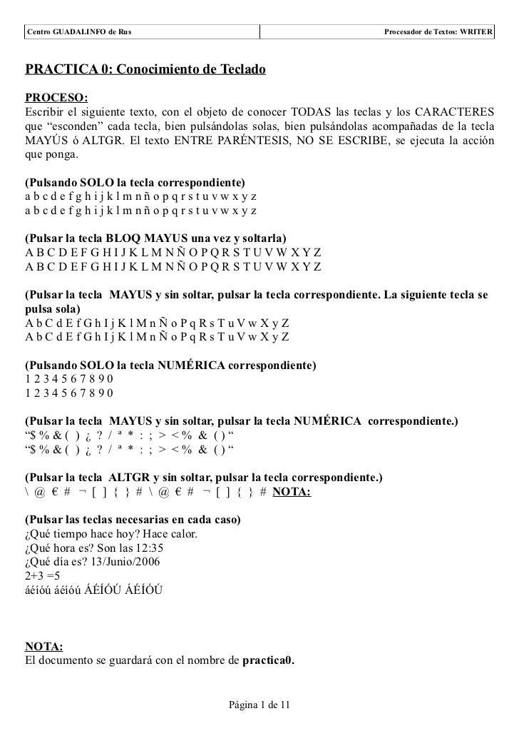Centro GUADALINFO de Rus                                                 Procesador de Textos: WRITERPRACTICA 0: Conocimie...