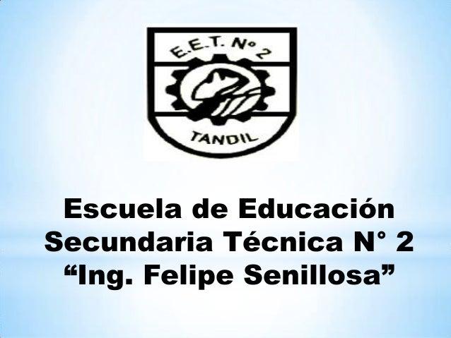 """Escuela de EducaciónSecundaria Técnica N° 2""""Ing. Felipe Senillosa"""""""