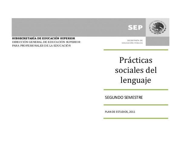 Practicas sociales del lenguaje programa
