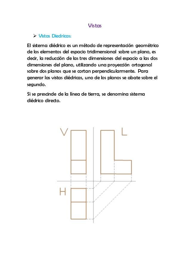 Vistas  Vistas Diedricas: El sistema diédrico es un método de representación geométrico de los elementos del espacio trid...