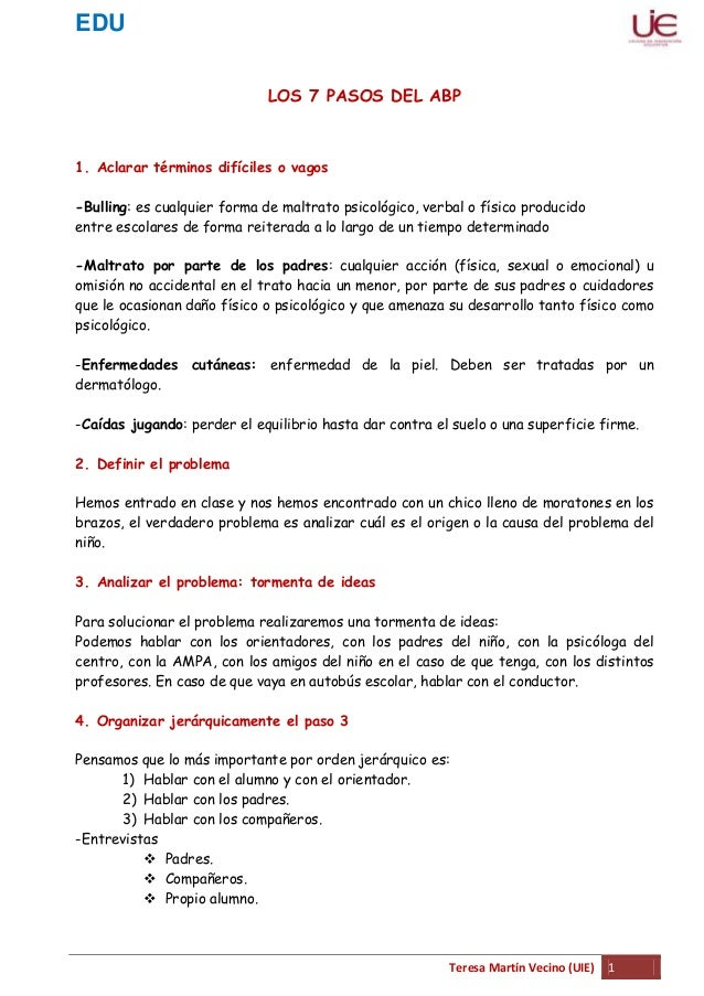 EDUTeresa Martín Vecino (UIE) 1LOS 7 PASOS DEL ABP1. Aclarar términos difíciles o vagos-Bulling: es cualquier forma de mal...