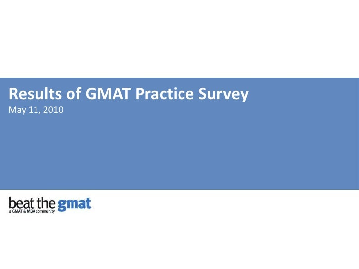 Results of GMAT Practice SurveyMay 11, 2010<br />