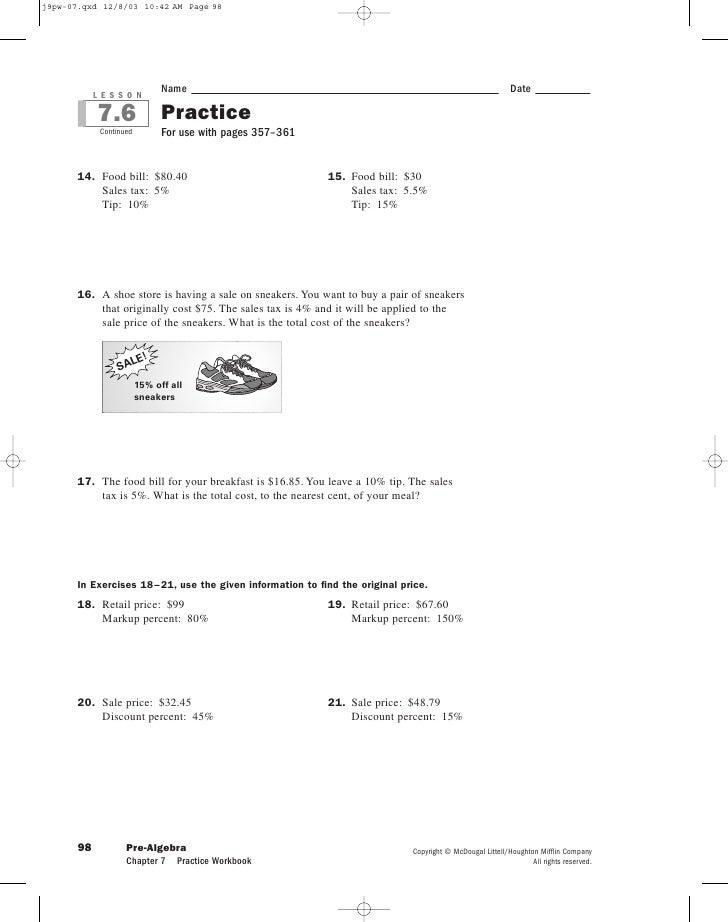 Glencoe algebra 1 practice worksheets
