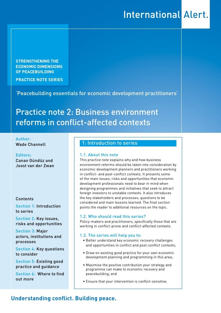 Practice note 2: Business environment reforms in conflict-affected contexts