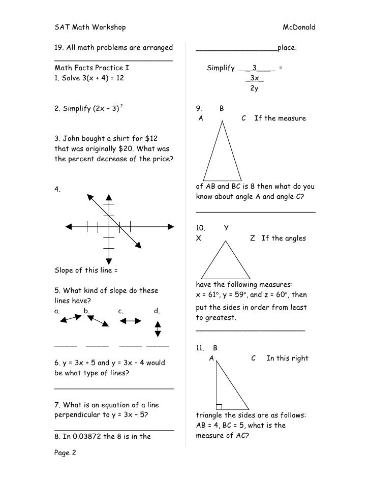 Sat Math Prep Worksheets Davezan – Sat Math Worksheets