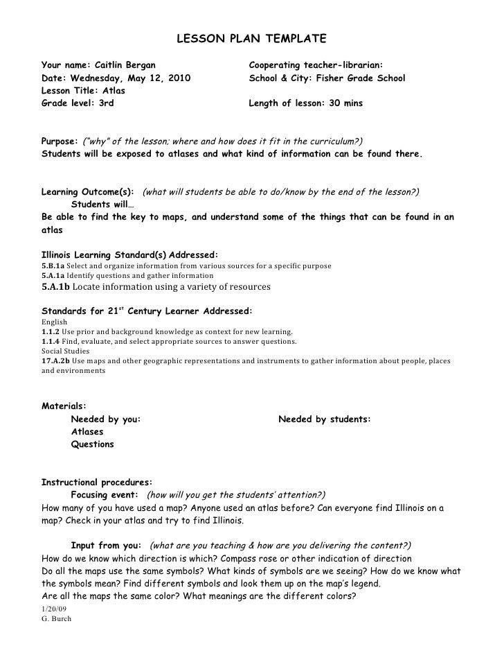 LESSON PLAN TEMPLATEYour name: Caitlin Bergan                                 Cooperating teacher-librarian:Date: Wednesda...