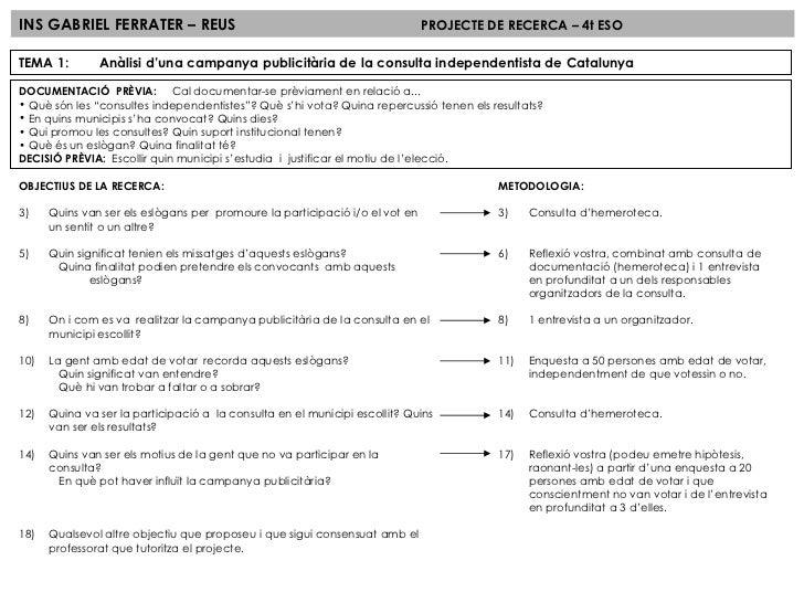 INS GABRIEL FERRATER – REUS PROJECTE DE RECERCA – 4t ESO TEMA 1:  Anàlisi d'una campanya publicitària de la consulta indep...
