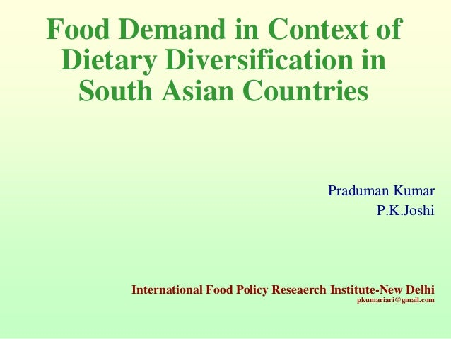 Dietary changes – example from India, Bangladesh and Pakistan
