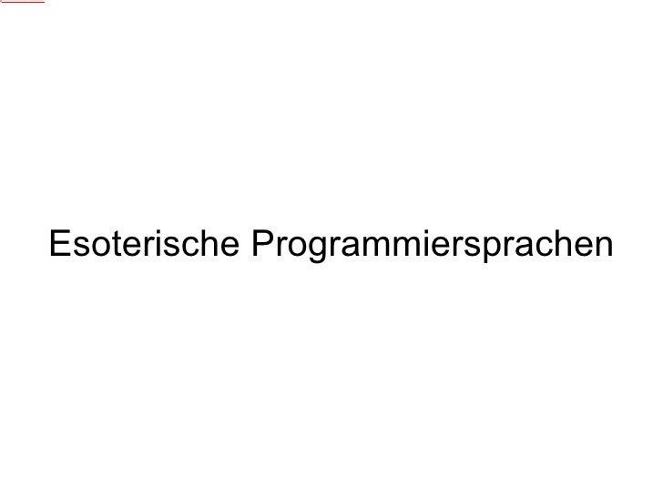 Esoterische Programmiersprachen