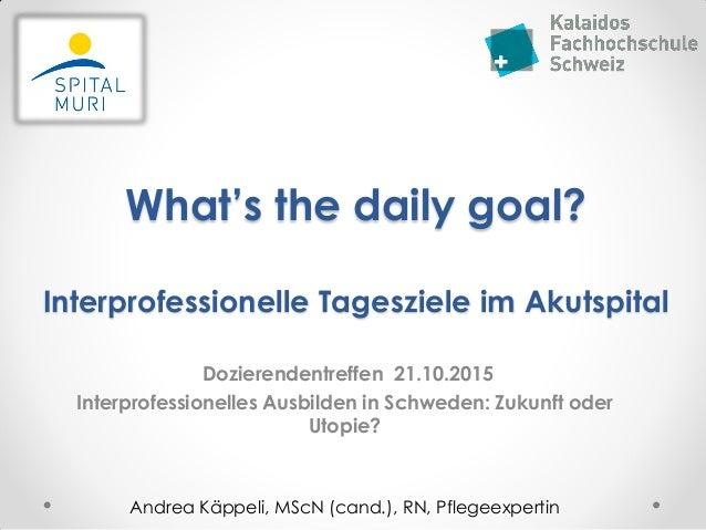What's the daily goal? Interprofessionelle Tagesziele im Akutspital Dozierendentreffen 21.10.2015 Interprofessionelles Aus...