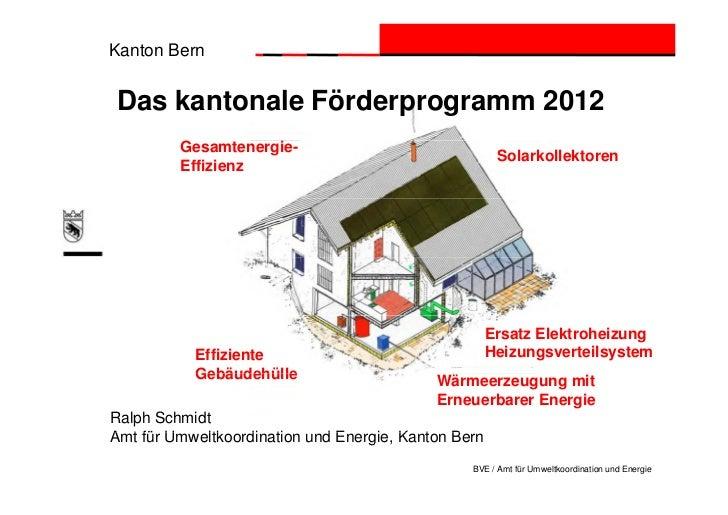 Kanton BernDas kantonale Förderprogramm 2012         Gesamtenergie-                                                     So...