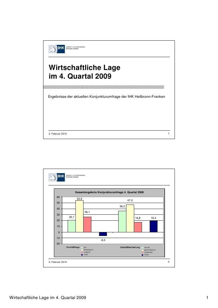 Wirtschaftliche Lage                   im 4. Quartal 2009                   Ergebnisse der aktuellen Konjunkturumfrage der...