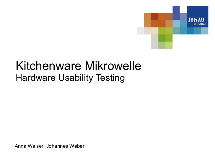 Kitchenware Mikrowelle Hardware Usability Testing Anna Walser, Johannes Weber