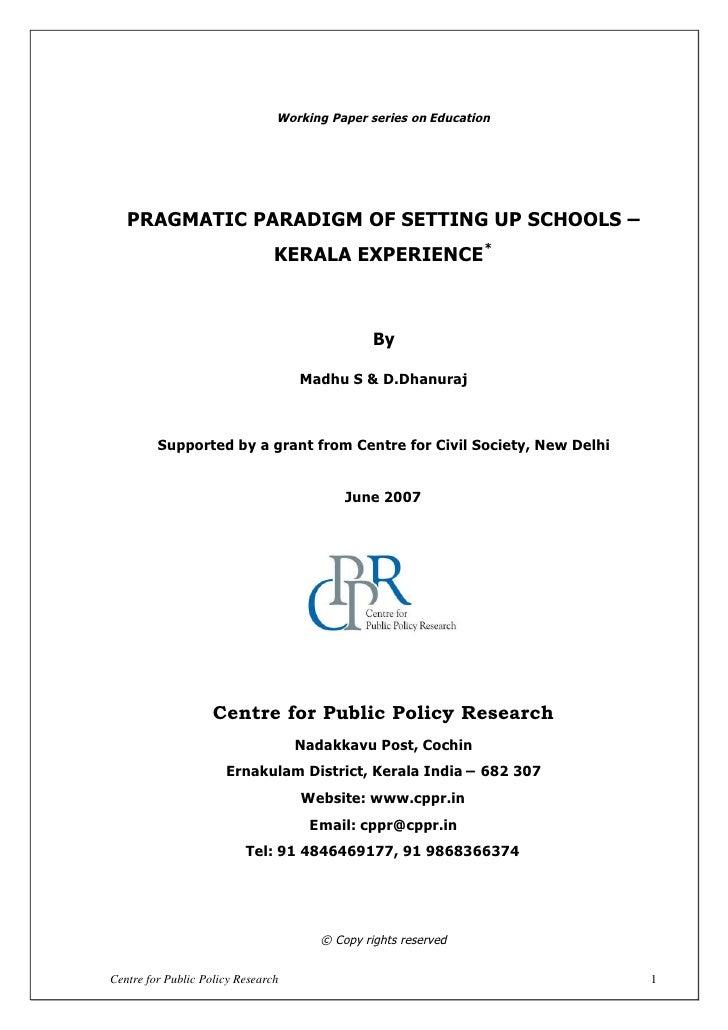Pragmatic paradigm of setting up school kerala experience