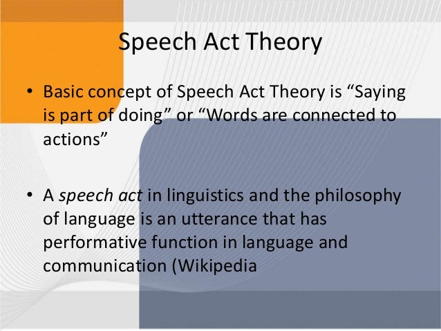 function of speech acts
