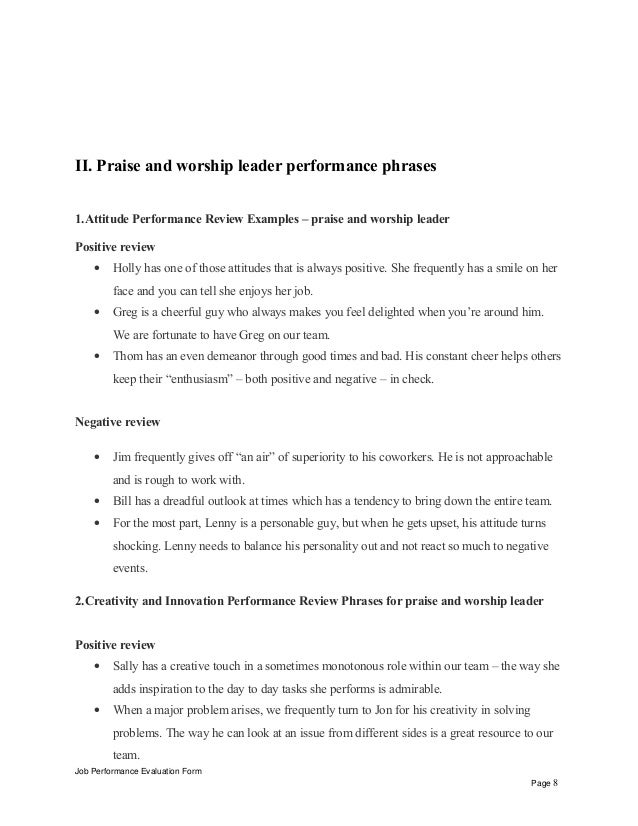 praise and worship leader performance appraisal      ii  praise and worship leader