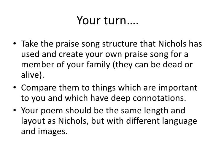 praise song for my mother grace nichols and harmonium simon armitage essay Summary of praise song for my mother in african poetry, a praise song is a poem comprised of a series of epithets that laud the subject of the poem in the case of this poem, it is probably safe to assume that the speaker is grace nichols, who is writing a praise song in honor of her mother.