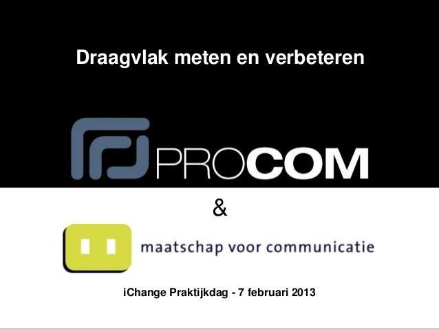 Praktijkdag iChange - 07-02-2013 - Het meten van draagvlak voor verandering - Frithjof de Haan & Remco Reitsma