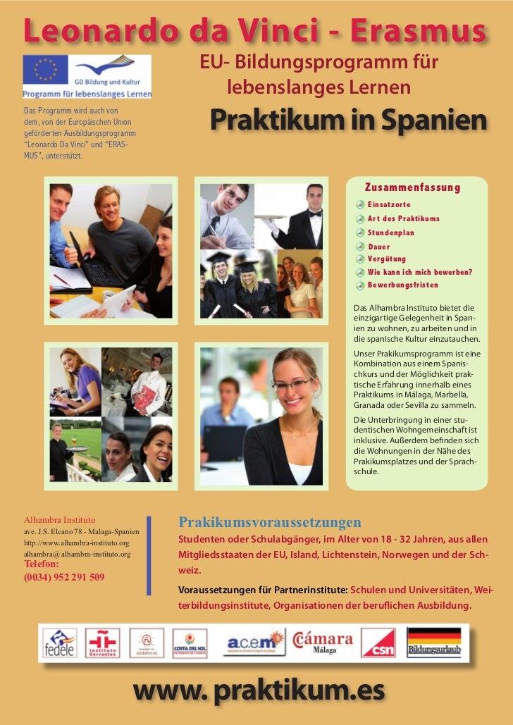 Leonardo da Vinci - Erasmus                                            EU- Bildungsprogramm für                           ...