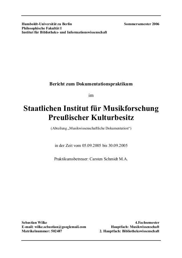 Humboldt-Universität zu Berlin Sommersemester 2006Philosophische Fakultät IInstitut für Bibliotheks- und Informationswisse...