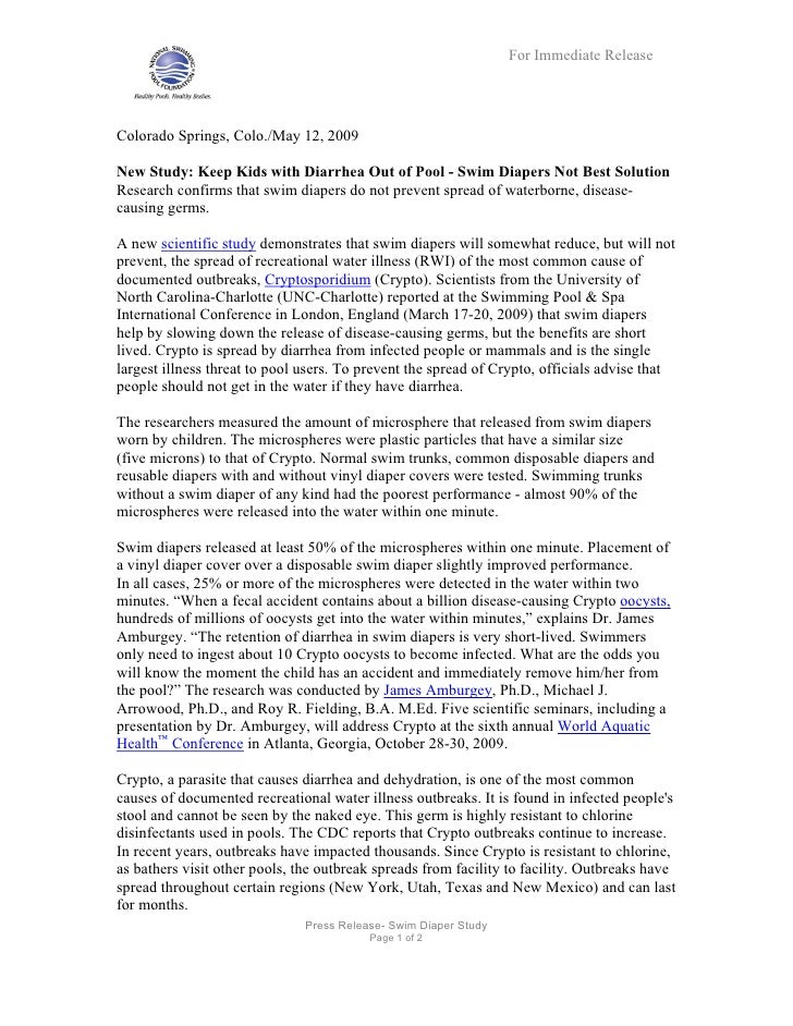 For Immediate Release     Colorado Springs, Colo./May 12, 2009  New Study: Keep Kids with Diarrhea Out of Pool - Swim Diap...