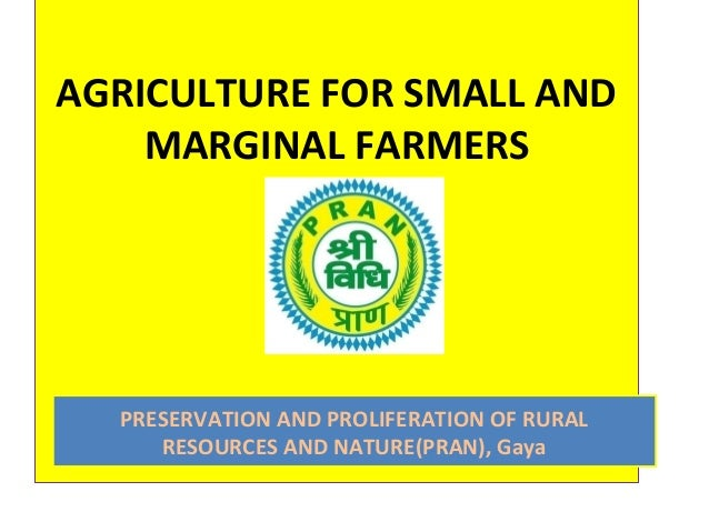 AGRICULTURE FOR SMALL ANDMARGINAL FARMERSPRESERVATION AND PROLIFERATION OF RURALRESOURCES AND NATURE(PRAN), Gaya