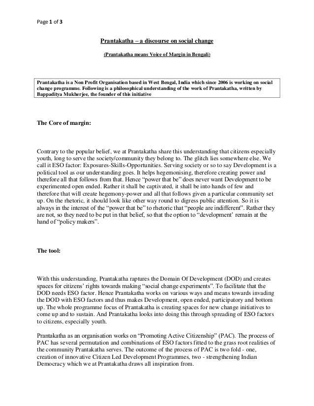 Page 1 of 3                            Prantakatha – a discourse on social change                              (Prantakath...