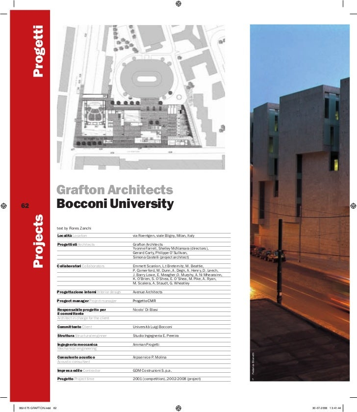 Progetti                          Grafton Architects 62                       Bocconi University        Projects          ...