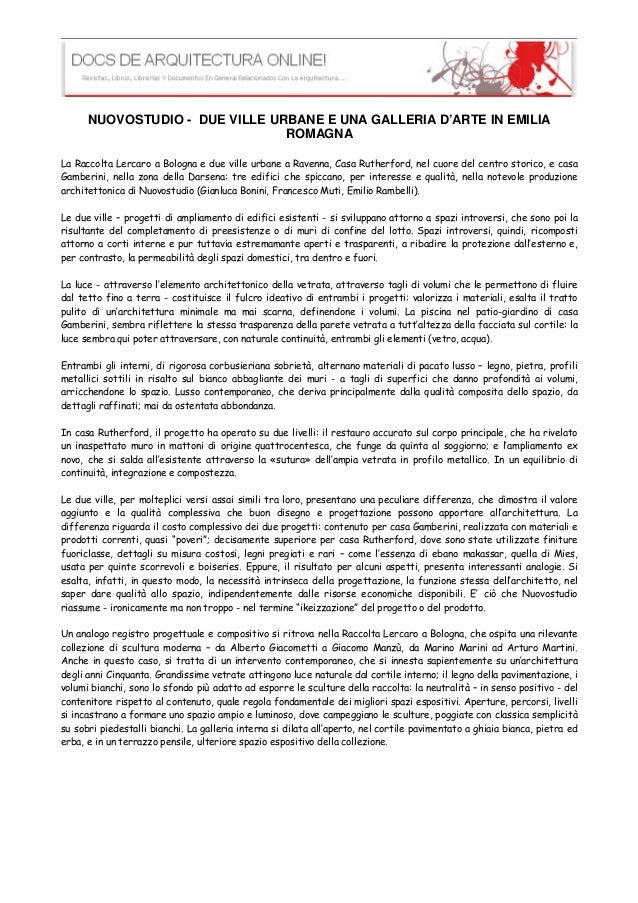 DUE VILLE URBANE E UNA GALLERIA D'ARTE IN EMILIA ROMAGNA