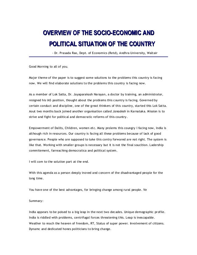 OVERVIEW OF THE SOCIO-ECONOMIC ANDOVERVIEW OF THE SOCIO-ECONOMIC AND POLITICAL SITUATION OF THE COUNTRYPOLITICAL SITUATION...