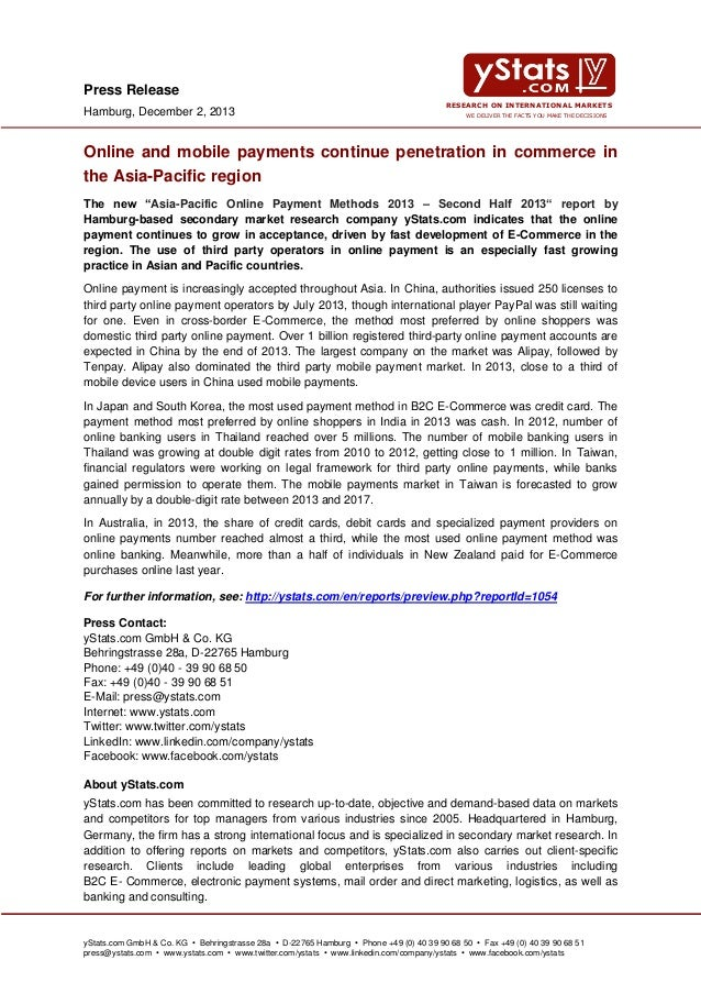 Press Release Hamburg, December 2, 2013  RESEARCH ON INTERNATIONAL MARKETS WE DELIVER THE FACTS YOU MAKE THE DECISIONS  On...