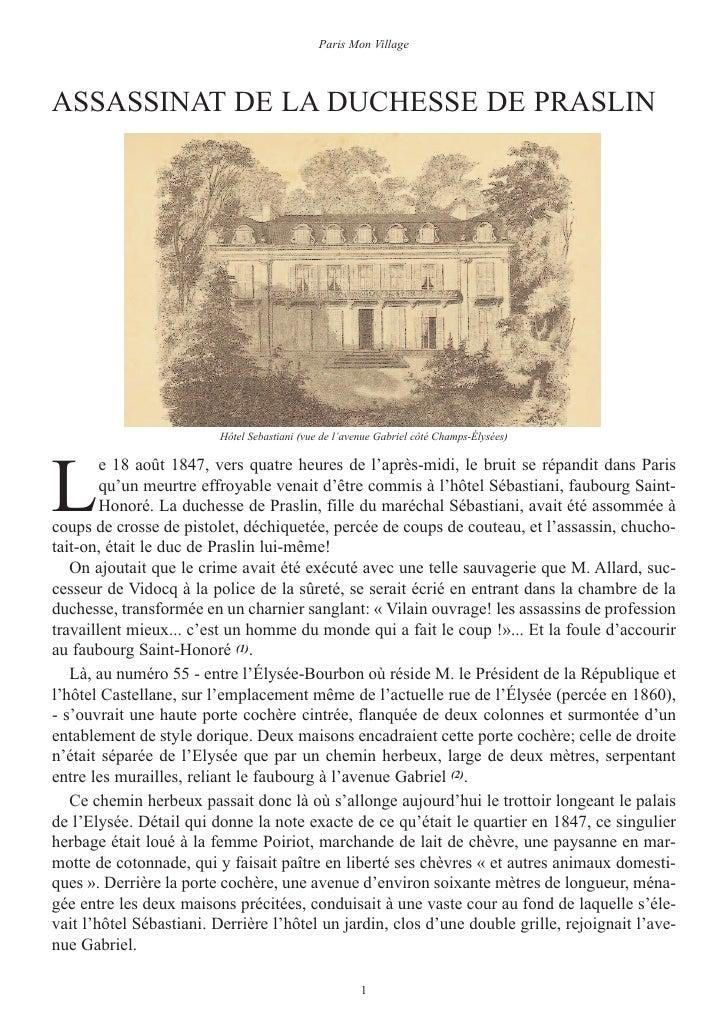 Paris Mon VillageASSASSINAT DE LA DUCHESSE DE PRASLINL                         Hôtel Sebastiani (vue de l'avenue Gabriel c...