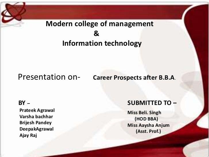 Modern college of management                        &              Information technologyPresentation on-       Career Pro...