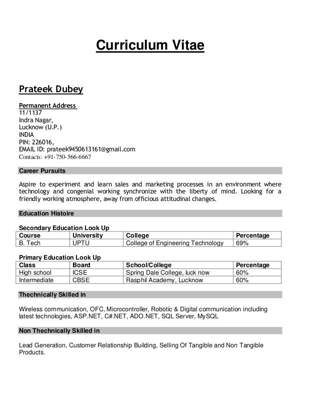 resume format for b tech cse - dental vantage