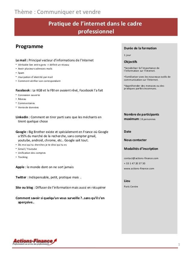 Pratique de l'internet dans le cadre professionnel Programme Le mail : Principal vecteur d'informations de l'Internet • Vé...
