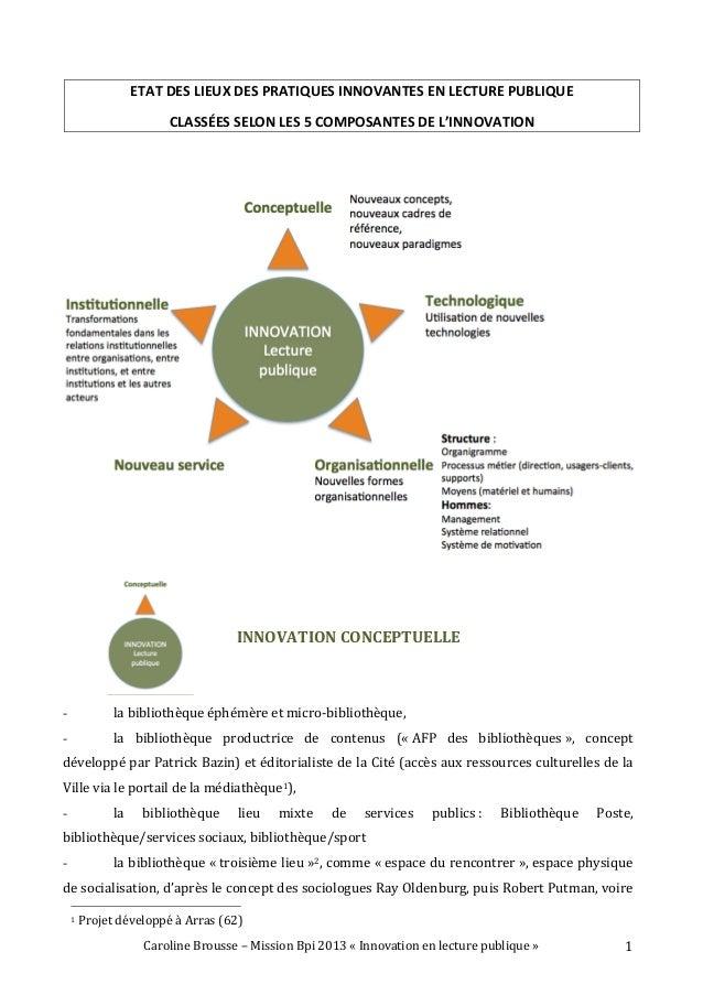 Caroline  Brousse  –  Mission  Bpi  2013  «  Innovation  en  lecture  publique  »   1   ETAT  ...