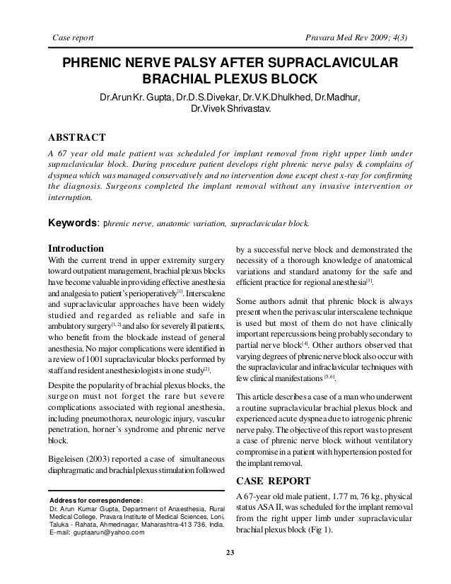Phrenic Nerve Palsy after Supraclavicular Block